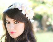 ivory bridal flower hair crown, woodland wedding, ivory flower, milinery flowerwedding hair accessories