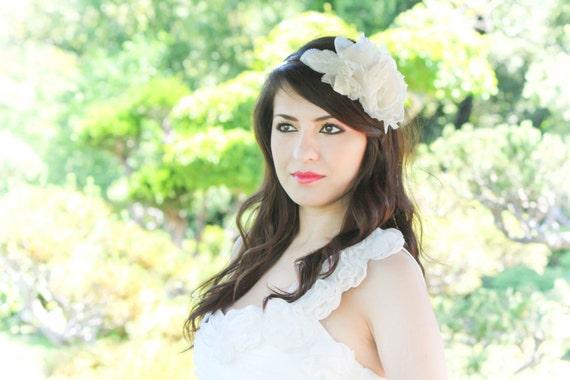 wedding hair accessories, bridal fascinator, wedding headpiece, ivory silk flower