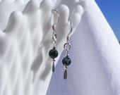 moss agate earrings, green, earthy, round beads, stone, sterling drop, paddle pins, fish hook, 2mm, delicate, sage, evergreen, abundance