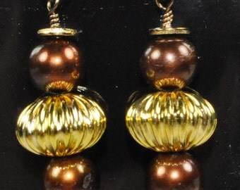 Chocolate pearls, gold plated beads and gunmetal wire earrings
