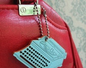 Trusty Typewriter Tag- Hand Painted Key Chain