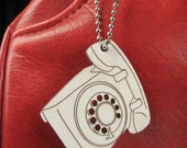 Vintage Telephone Pendant Retro Rotary Tag- Nifty Wood Key Chain