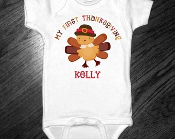 Personalized My First Thanksgiving Bodysuit or Shirt
