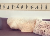 Fabric Wall Decal Silly Walks Cross Stitch Wall Sticker (not vinyl), by Chocovenyl