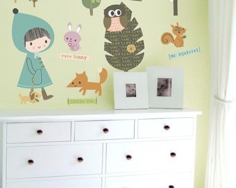 Fabric Wall Decals In the Woodland Reusable Wall Stickers (not vinyl), Large