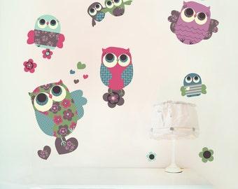 Owls Wall Decals Fabric Wall Stickers (not vinyl) -Medium