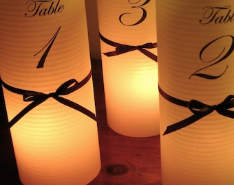 10 Table number Luminaries for centerpieces, table numbers at wedding, events, balls - Set of 10 - numbers 1-10 - Ready to ship