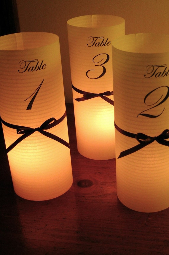 30 DIY luminaries for centerpiece, table numbers at wedding, events, balls