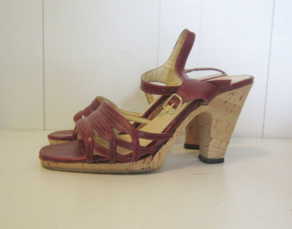 size 6 strappy cork heel sandals