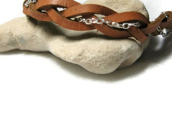 Leather And Silver Chain Braided Bracelet, Braided Bracelet, Leather Bracelet