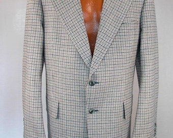 Vintage 70s Jacket Mens Sportcoat Hart Schaffner & Marx Silverwoods ACWA Union Label Tattersall Plaid 1970s Coats