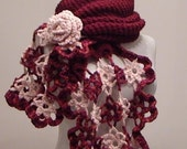 Burgundy Pink Gipsy Shawl and Scarf