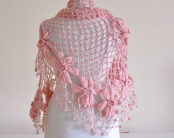 CLEARANCE! Pink Flower Shawl