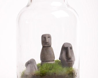 Six Easter Island Heads miniature terrarium sculptures - Handmade ornaments for your planters