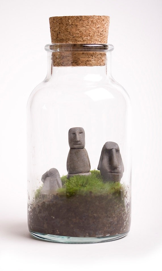Four easter island heads miniature terrarium by jpants4sale for Moai fish tank