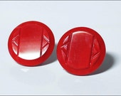 W GERMANY 50's 60's Lipstick Red Glass Clip Earrings - TheVintageSquare