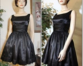 VINTAGE 60's Black Satin Cocktail Party Dress With Full Cut Skirt S - XS