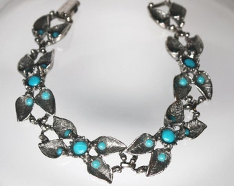 Vintage 60s 70s Faux Turquoise Glass Silver Tone Leaf Bracelet