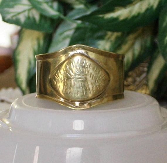 Vintage 70's Wide Brass Cuff Bracelet Handcrafted With Center Etched Design Plate