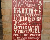 """CHRISTMAS Sign, WooD SiGn,Christmas Decor, HoMe DeCoR, Ornament, Country Decor, Rustic,Typography,Primitive  Sign, DAWNSPAINTING, 12"""" X 24"""""""