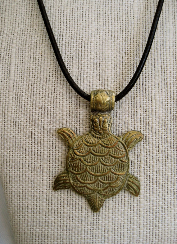 Tibetan Brass Turtle Pendant on Leather Cord Large Solid Brass Rustic Turtle Dark Brown Leather Cord Unisex