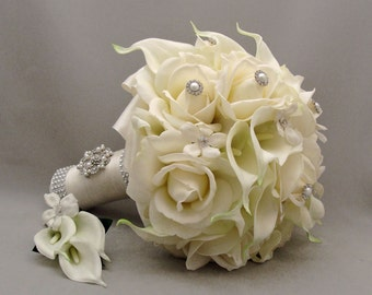 Silk Flower Bridal Bouquet Stephanotis Real Touch Roses Real Touch Calla Lilies with coordinating Groom's Boutonniere