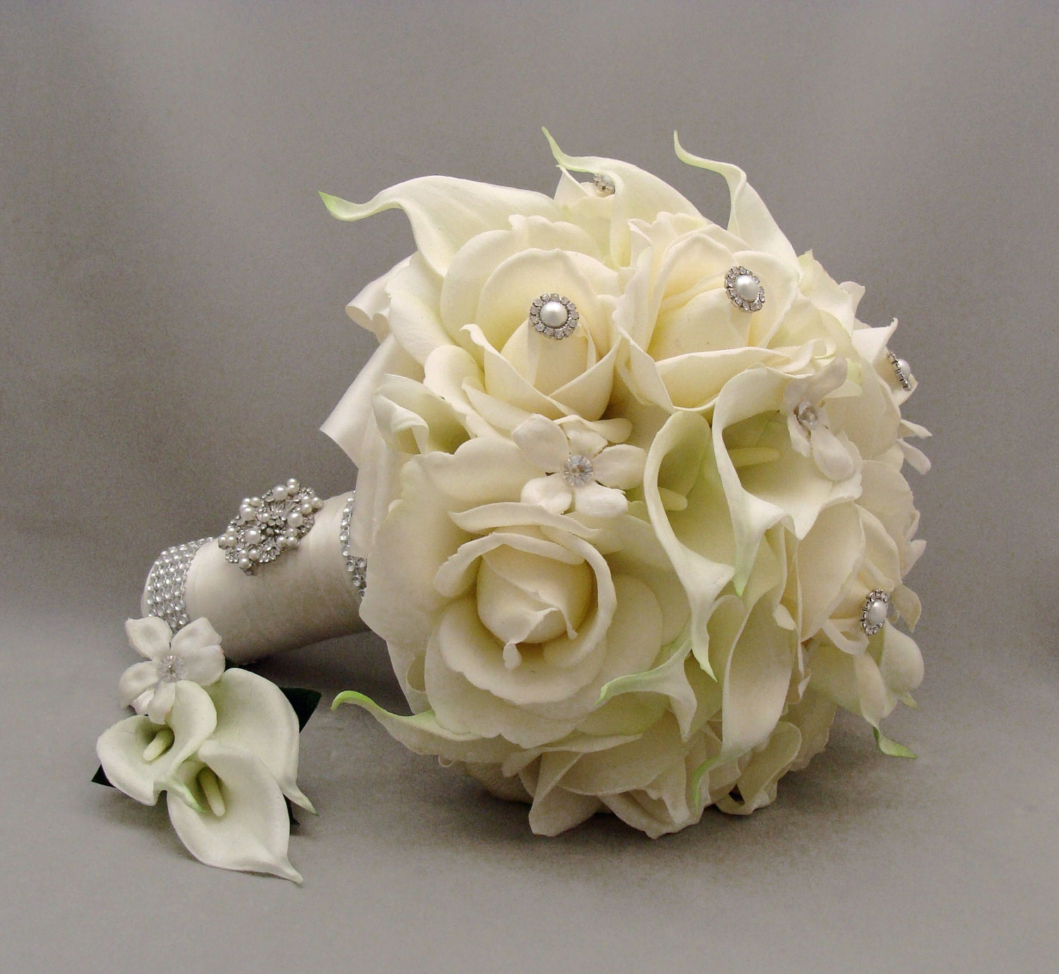 Flower Wedding Bouquet: Silk Flower Bridal Bouquet Stephanotis Real By