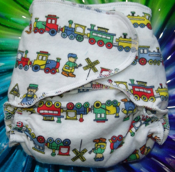 One Size Fitted Cloth Diaper Very Baby Cotton Flannel No Snaps Package-ChooChoo