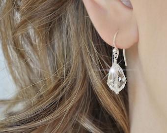 Crystal Teardrop Earrings Bridal. Crystal Drop Earrings