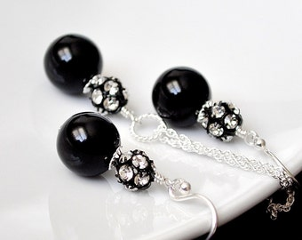 Black Bridesmaid Jewelry Sets. Black Pearl Set. Bridemaid Jewellery. Pearl Earrings Necklace SET. Sterling Silver Rhinestone Jewelry.