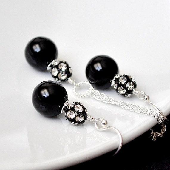 Black Bridesmaid Jewelry Sets. Black Pearl Set. Bridemaid Jewellery. Pearl Earrings Necklace SET. Sterling Silver Rhinestone Jewelry.