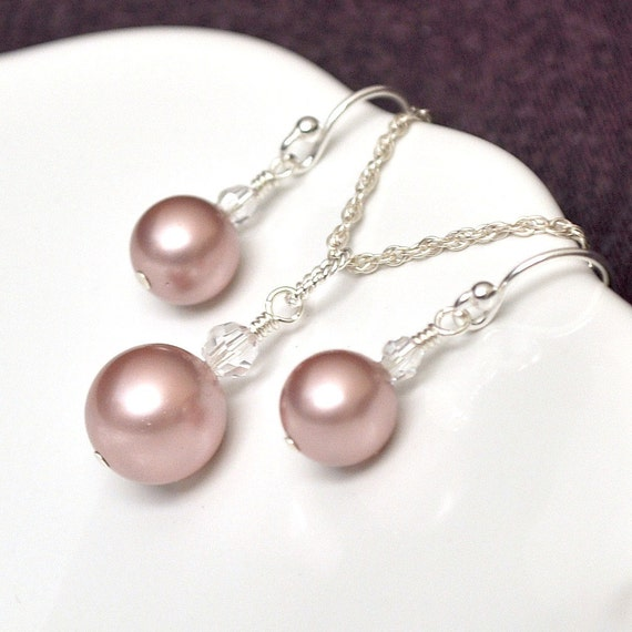 Pearl Bridesmaid Jewelry Set, Pink Bridesmaid Jewelry Set. Dusty Rose Bridesmaids Jewellery Set.