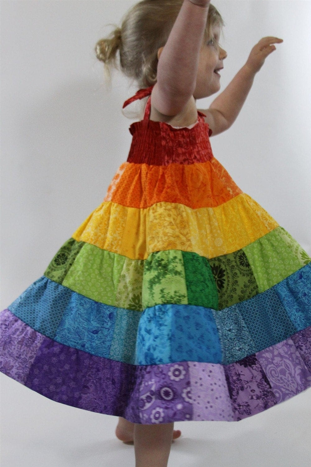 Rainbow Dress Toddler Girls Patchwork Smocked By Pecansandies