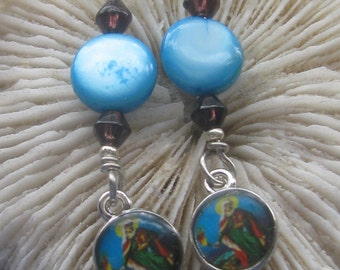 Earrings Catholic, Sacred Heart of Mary, Blessed Virgin, Holy medal