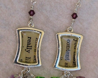 Wonderful Vintage text earrings, say REALLY CONTENT, crystals, dangles, silver