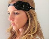 The Esther - Beaded and Rhinestone Tie Headband or Halo