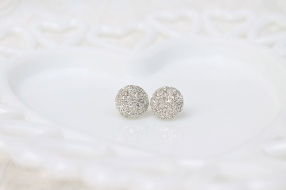 RESERVED for DARLA - Sparkling Silver Glitter Studs