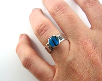 Textured paua ring in sterling silver for stacking or solo wear