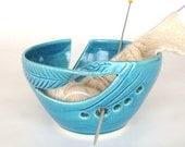 Ceramic Yarn Bowl Robin's egg turquoise, BlueRoomPottery Crochet KNITTING bowl twisted leaves Organizer Handmade by Marietta - IN STOCK