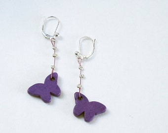 Flower Jewelry Sterling Silver Purple Butterfly Ceramic Earrings IN STOCK Modern Minimalist Holiday gift for her under 20