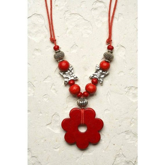 Ceramic Necklace, Silver Beads Adjustable porcelain Necklace modern red Flower Christmas love gift for her