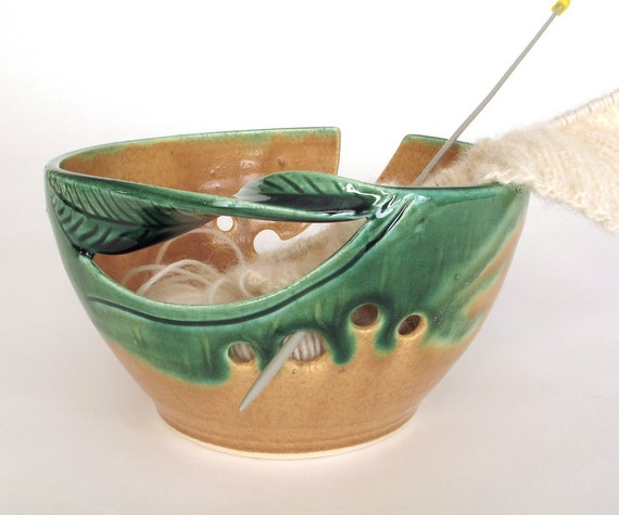 Orange Yellow Ceramic Yarn Bowl Hand made Knitting Lime Green Yarn Wool Organizer Storage POTTERY twisted leaf MADE to ORDER