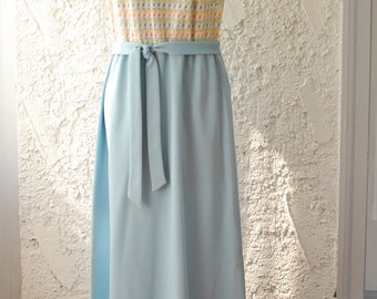 Vintage 1970s Crochet Maxi Dress & Cardigan - Hopewell by Jonathan Logan - sz Large
