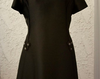 Vintage 1960s Little Black Designer Dress with Rhinestones - M/L
