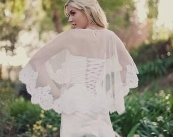 Alencon Lace Bridal Cape, Capelet, Cover up, Bridal Cape, Lace Cover Up, Bridal Shawl, English Net Cape, Lace Caplet