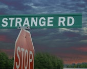 journey, art photography, road sign, travel, road less traveled, strange, stormy skies, moody, adventure, colorful art