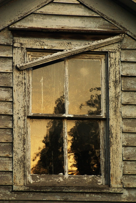 Twilight, old farm house, art photo, abandonment, reflections, window, reminisce, history of better times, wall art, rustic art,
