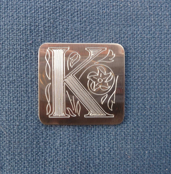 Monogram Pin, Single Ornate Engraved Initial, Pewter. Choose your initial.
