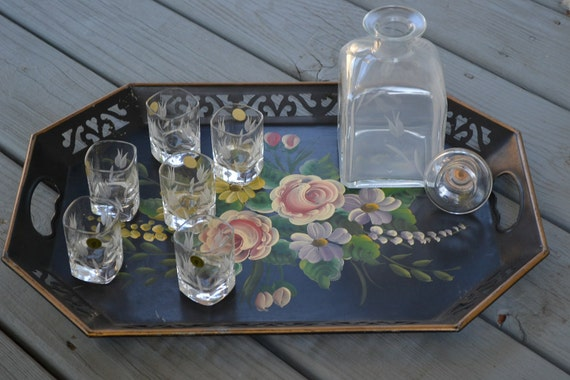 Vintage Decanter Set with Six Shot Glasses, Italian Etched Glass, Tulip Floral Design, Mad Men Style