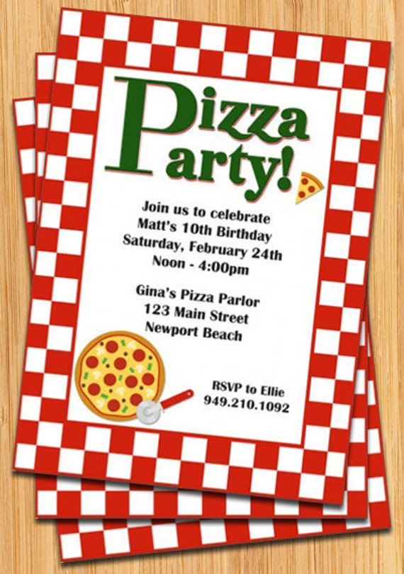 pizza party invitation, Party invitations